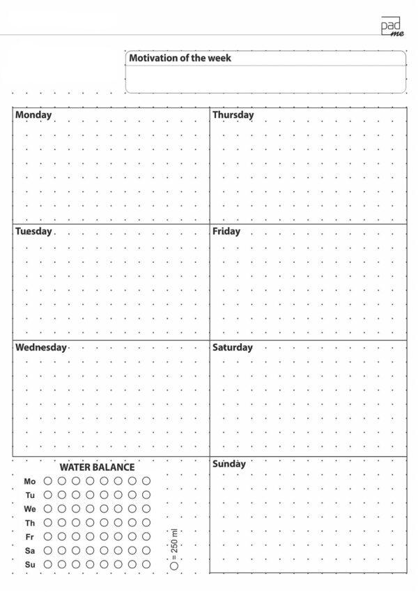 Неделя-планер на одну страницу