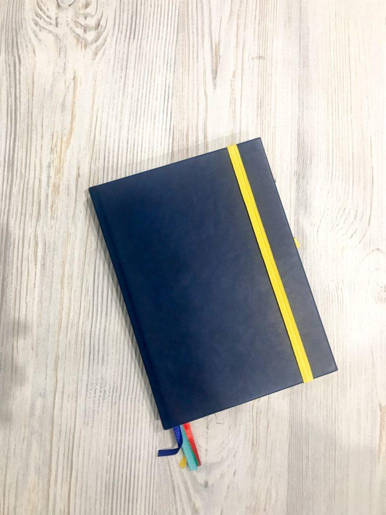 Синий еженедельник с крафтовыми вставками, трекерами и отчетами