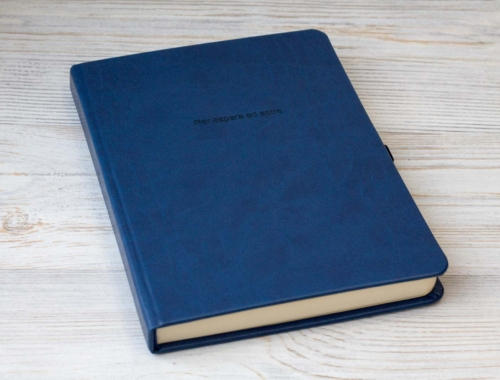 Синий ежедневник с пандами, планингами, идеями и стихами